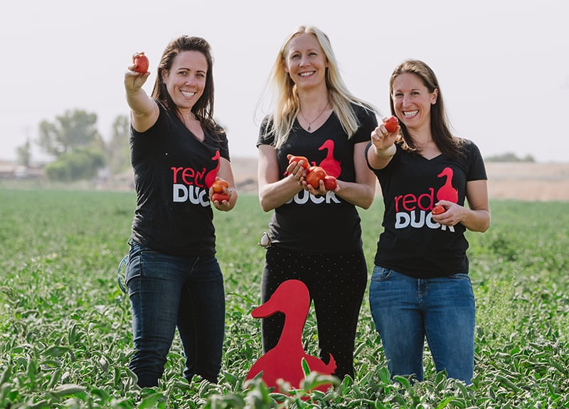 Karen Bonner, Jess Hilbert, and Shannon Oliver, co-founders of Red Duck Foods