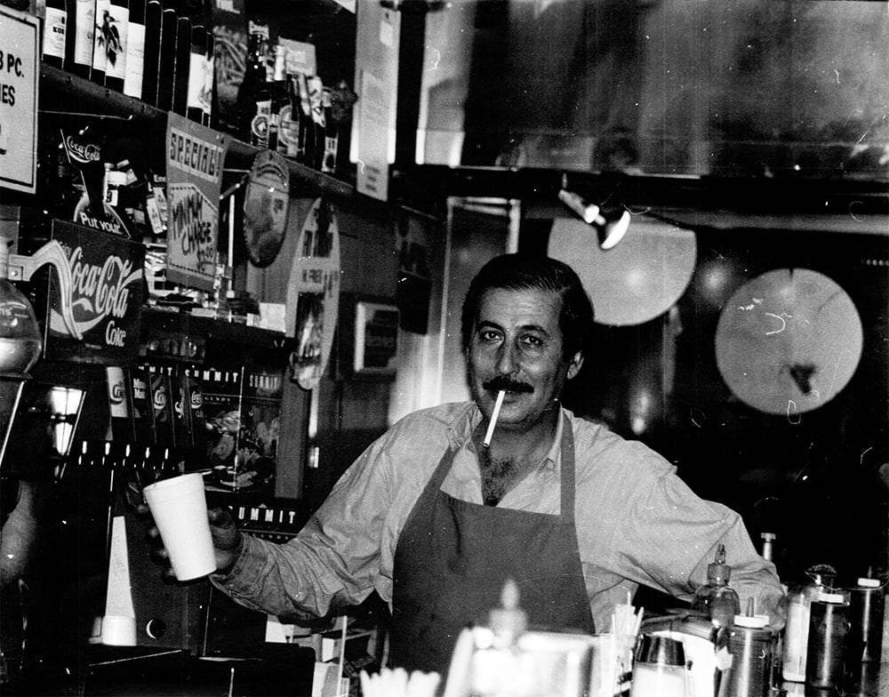 "Mike ""Sam"" ElShawa (restaurant owner and Emad's dad) at Sam's in 1985."