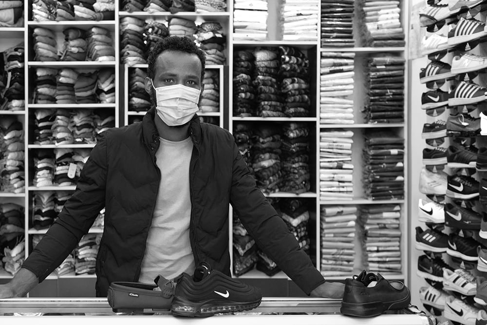 black owned business wearing mask