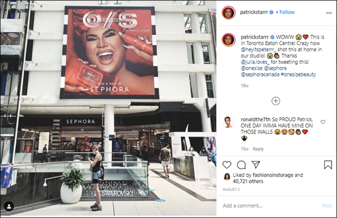 Screenshot of a Sephora mention by influencer Patric Starr on his Instagram page.